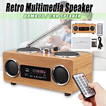 Retro Vintage Radio Super Bass FM Radio Bamboo Multimedia Speaker TF Card/USB/FM Radio/MP3 Player Portable Radio Receiver Natural Bamboo Arts and Crafts