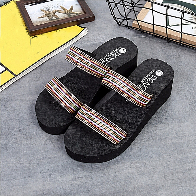07d7197d88a0f2 Generic Summer Bohemia Beach Platform Bath Slippers Wedge Slope Slippers  Women Shoes A1