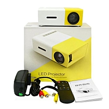 LED Mini Home Projector HD 1080P HDMI USB Projector Media Player - yellow & white