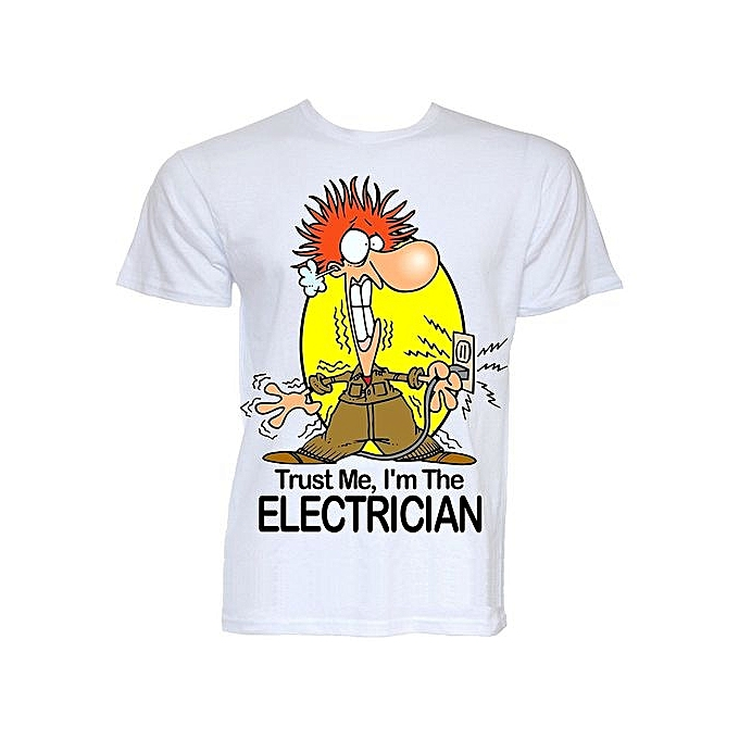 e4b8bffb Mens Funny Cool Novelty Electrician Sparky Joke Slogan Gifts T-shirts Men's Cotton  T-