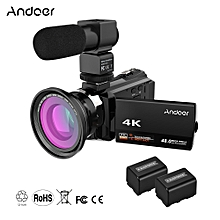 4K 1080P 48MP WiFi Digital Video Camera Camcorder Recorder with 2pcs Rechargeable Batteries + 0.39X Wide Angle Macro Lens + External Microphone Novatek 96660 Chip 3inch Capacitive Touchscreen IR Infrared Night Sight 16X Digital Zoom
