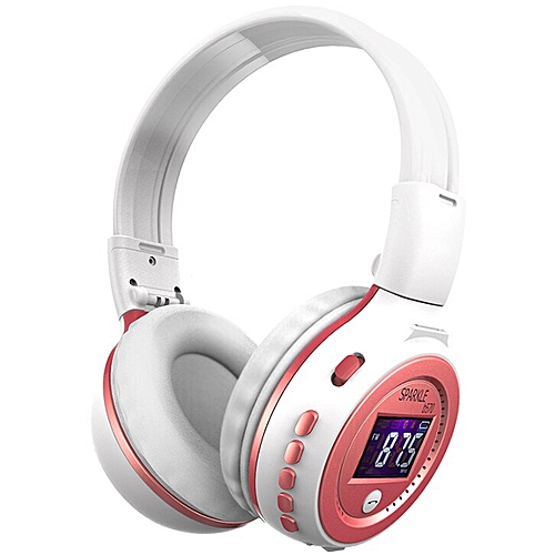 431d574b06b Zealot B570 Stereo Wireless Headphones HiFi Bluetooth Headset With  Microphone LCD Screen Micro-SD Slot For Smartphone PC Gamer(white with  pink) WOW