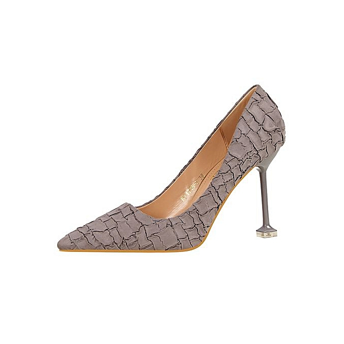 b26e4465ab89 9.5cm Stone Pattern Sex Thin High Heels Pumps Women Casual Party Shoes -Grey