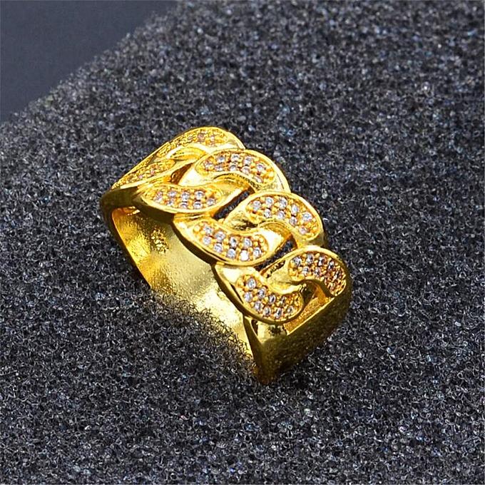 75e87d2f556 Fashion European and American Hip Hop Jewelry Cuban Chain Shape Men s  Diamond Chain Ring