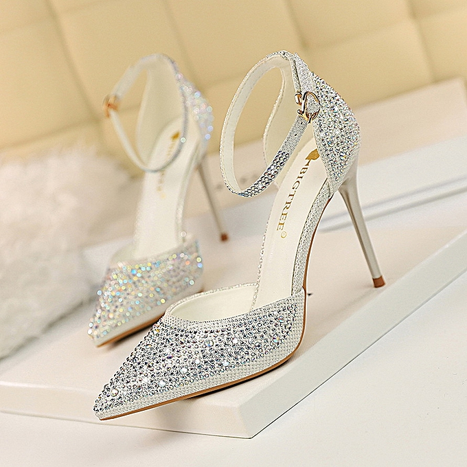 7606d18b9000f Women Sweet High Heel Stiletto Heel High Heel Shallow Mouth Pointed Hollow  With Shiny Rhinestone Sandals