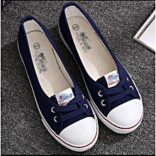 Flat Rubber Sole Women Flats shoes canvas with laces blue