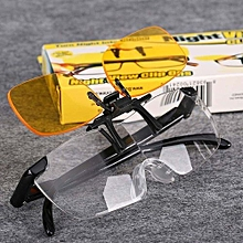 Hequeen Night View Clip Ons Night Vision Car Driving Glasses Clip - Yellow