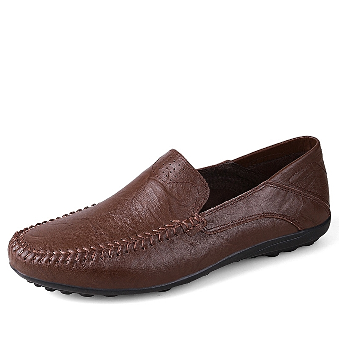 da0cd9ee35b3 SocNoDn Men Formal Genuine Leather Casual shoes Loafers Dark Brown ...