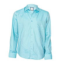 Cyan Shirt With Pocket Square