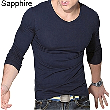 Men Casual V-Neck Long Sleeve Muscle Basic Top Tees Solid Slim Fit T-Shirt-Sapphire.
