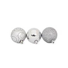 6cm Assorted Silver Chrismas Balls (12pcs)