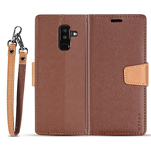 designer fashion 161ce b357d For Samsung A6 PLUS 2018 flip case MUXMA flip card phone case two-color  anti-fall leather case-Brown