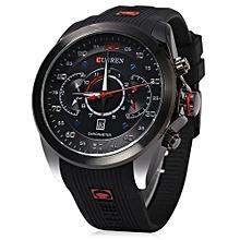 Male Quartz Watch Complete Calendar Dial Rubber Band Wristwatch