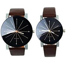 AI 1Pair Men And Women Quartz Dial Clock Leather Wrist Watch Round Case CO