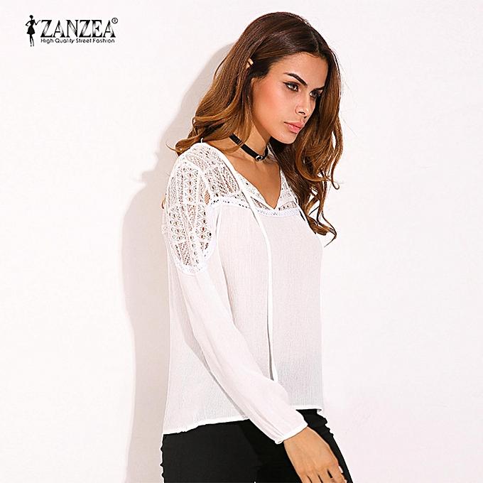 0efff088860831 ZANZEA ZANZEA Autumn Shirts Women Casual Loose Patchwork Lace Crochet Blouses  V Neck Long Sleeve Tee Tops S-5XL (White)