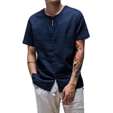 Chinese Wind Fashion Mens Linen Cotton Casual Short Sleeve T-shirts Vintage Ethnic Style Loose Tees