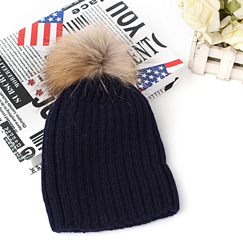 ad639a0d3 Baby Kids Boys Girls Winter Warm Cap Knitted Faux Fur Pom Bobble Beanie Hat