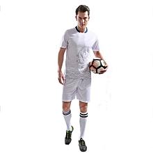 Customized Fashion Men's Football Team Training Soccer Jersey Shirts And Shorts Uniform-White