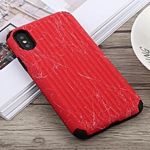 Travel Box Shape Painted Marble Protective TPU + PC Case for iPhone X / XS (Red)