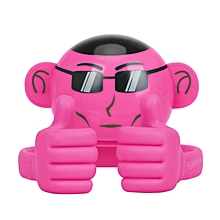 APE: Pink Bluetooth Speaker, Portable Monkey Shape Multifunction Wireless Speaker with 3.5mm Audio Jack and Thumbs-up Adjustable Flexible Smartphone Holder for Tablets, Cell Phones
