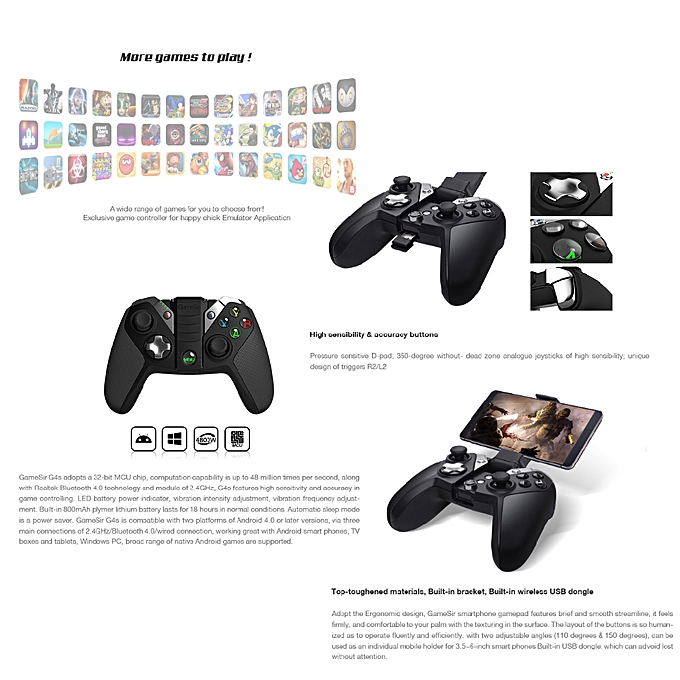 GameSir G4s BT Wireless Gaming Controller Gamepad Game Joystick for Android  Windows PS3 VR Glasses