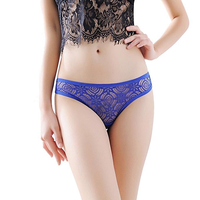 d299562dd18 Women Sexy Lace Briefs Panties Thongs G-string Lingerie Underwear BU- Blue