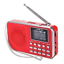 FM AM Mini Radio Digital LCD Speaker MP3 Music Player AUX USB TF With LED Light Red