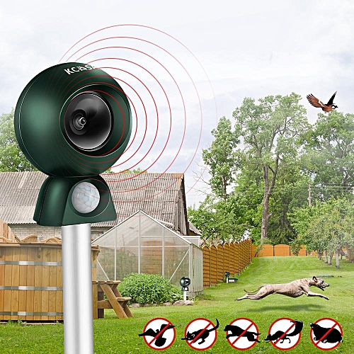 Kcasa Gr 200 Garden Animal Repeller Waterproof Ful Ultrasonic Pir Sensor Flashlight Indicator Dog Bird