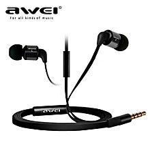 Headphone, Awei ES600i Sport Headphone With Microphone Mic Headset In-ear Earphone(Black)