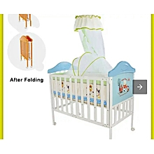 Superior NEW Foldable Baby Cot with Single High Pole Mosquito Net and a 4 Inches Thick Baby Mattress Baby Travel Cot Blue for Boy