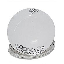 6 Piece Soup Plate Set - White with Black Circles & Misty Drops.