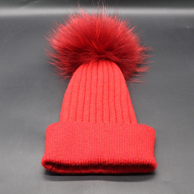 340e875fec0 ... singedanWomen Winter Crochet Hat Fur Wool Knit Beanie Raccoon Warm Cap  RD -Red ...