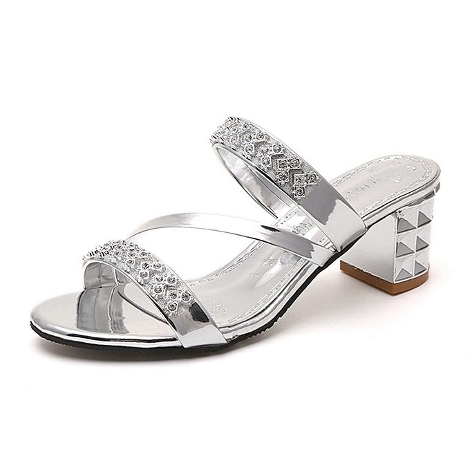 9876c7249 Women s Ladies Summer Crystal Square Heel Beach Sandals Roman Shoes Slippers