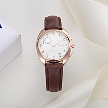 Women Fashion Leather Band Analog Quartz Round Wrist Watch Watches  Coffee