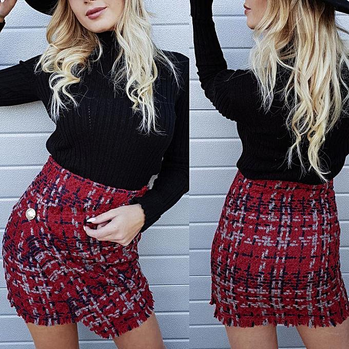 ae10dc9d7cb2 jiahsyc store Women Check Plaid Short Bodycon Skirt Ladies High Waist Short  Mini Skirt