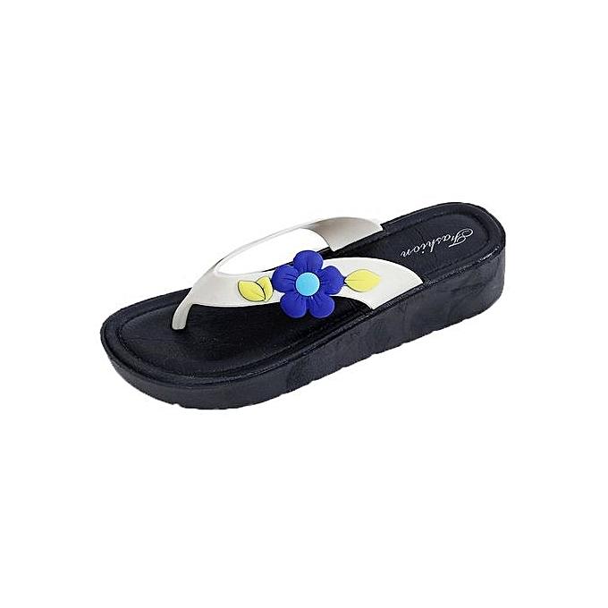 282155c66ccf78 Women Summer Flowers Cool Trailers Soft Slippers Beach Flip Flops Shoes  BU 39