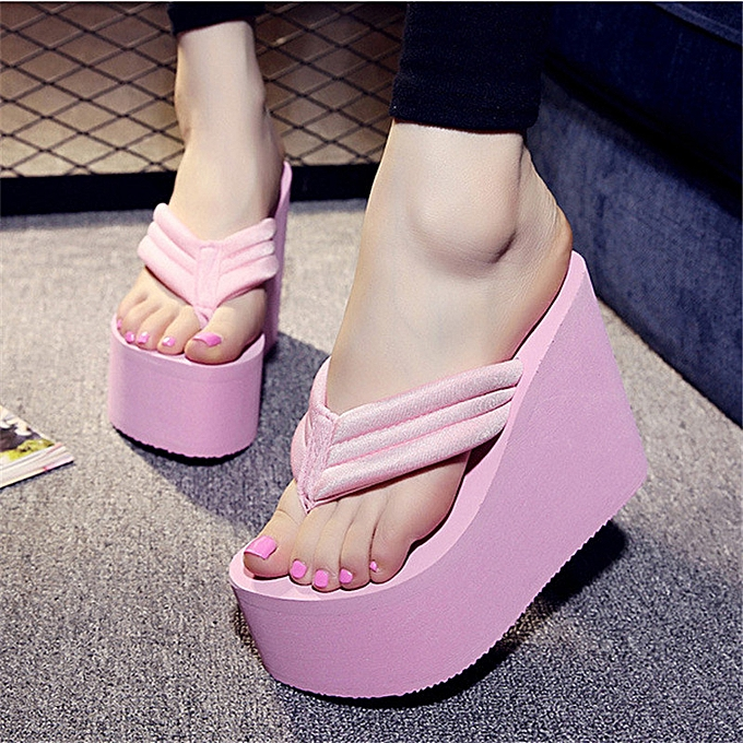 3d85330ee20432 Women s High Heel Slippers Flip Flops Platform Summer Wedge Sandals Beach  Shoes