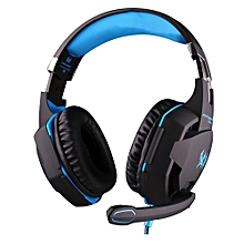 EACH G2100 Gaming Headset Stereo Sound 2.2m Wired Headphone Noise Reduction with Microphone Vibration for PC Game BLUE