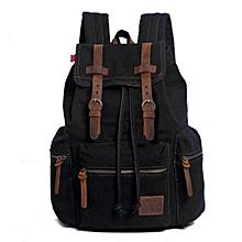 AUGUR New Fashion Men's Backpack Vintage Canvas Backpack School Bag Men's Travel Bags Large Capacity Travel Backpack Camping Bag(Black)