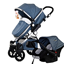 3 in 1 Pro Baby Stroller High View Pram Foldable Pushchair Bassinet & Car Seat #light blue