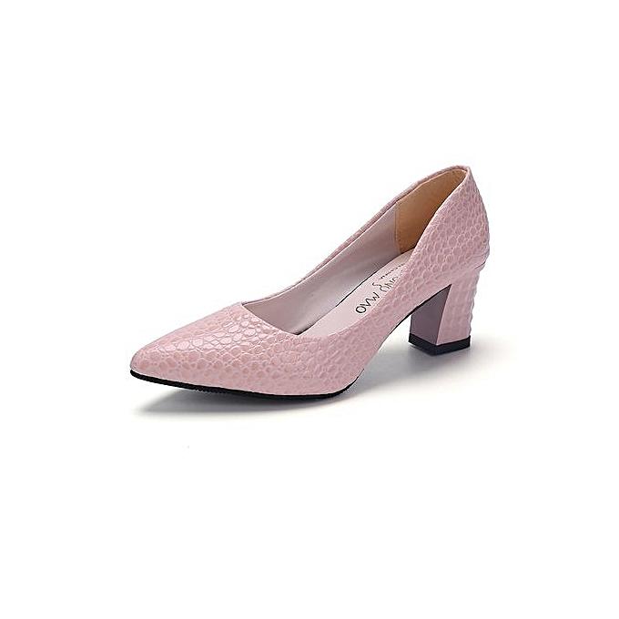 5c315cadb08 Crocodile Pattern Heels Pumps Women Shallow Office Formal Shoes 6cm (Pink)  - Black,White,Pink - 38