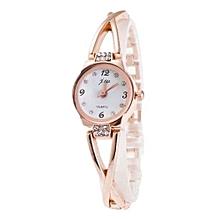 Fashion Women's Minimalism Rhinestone Golden Stainless Steel Wrist Watch GD