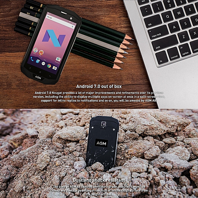 AGM A8 Triple Proofing Phone, 4GB+64GB, EU Version, 4050mAh Battery, IP68  Waterproof Dustproof Shockproof, 5 0 inch Android 7 0 Qualcomm MSM8916 Quad