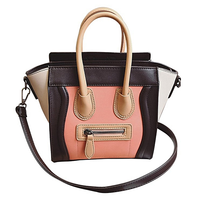 Trendy Fashion Women Classic PU Leather Handbag Hit Color Smile Shoulder Bag  coffee   orange 453b1299b2442