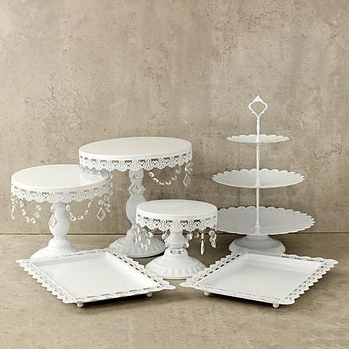 Wedding Candy Bar.Set Of 6 Pieces White Gold Crystal Cake Stand Cupcake Wedding Dessert Candy Bar