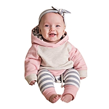 3pcs Toddler Baby Boy Girl Clothes Set Hoodie Tops+Pants+Headband Outfits Menstye