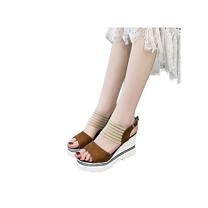 ee1159aee Jiahsyc Store Women Fish Mouth Platform High Heels Wedge Sandals Buckle  Slope Sandals-Brown