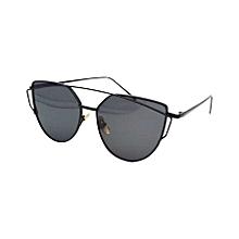 Unisex Fashion Color Film Uv400 Reflective Sunglasses (black + Dark Grey)