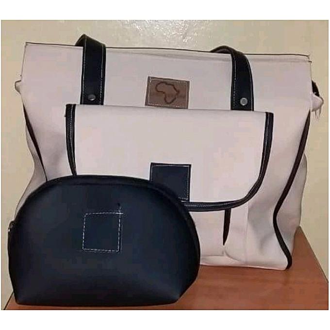 b1d69424c0 Afro Bertine 2 in 1 Ladies Faux Leather White Shoulder Bag + Black ...
