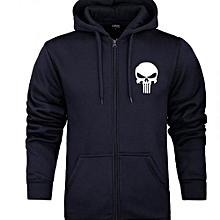 Royal Black Long Sleeved Unisex  Zip Hoodie